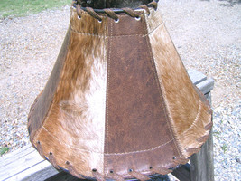 Large Western Lamp shade Leather Cowhide 0947 bz - $169.98