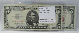 Pair 1963 $5 Red Seal U.S. Notes CH AU PC-407 - $46.37