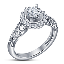 Pure 925 Silver White Gold Plated Round Cut Sim Diamond Women's Engageme... - $72.88