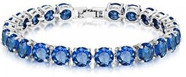 Simulated Sapphire Tennis Bracelet Eternity 7mm Round Cut 7 Inch - $32.81