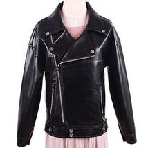Autumn Motorcycle Jacket For Women's Black Turn down Collar image 2