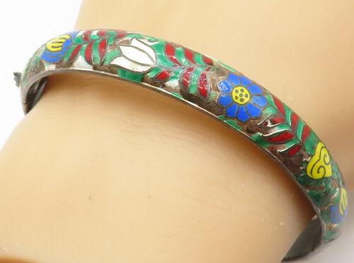 925 Silver - Vintage Enamel Painted Flower Pattern Bangle Bracelet - B4990