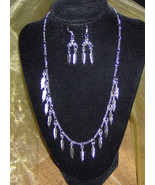 American Made!  Silver Necklace and Earrings, Silver Feathers on Davinci... - $30.00