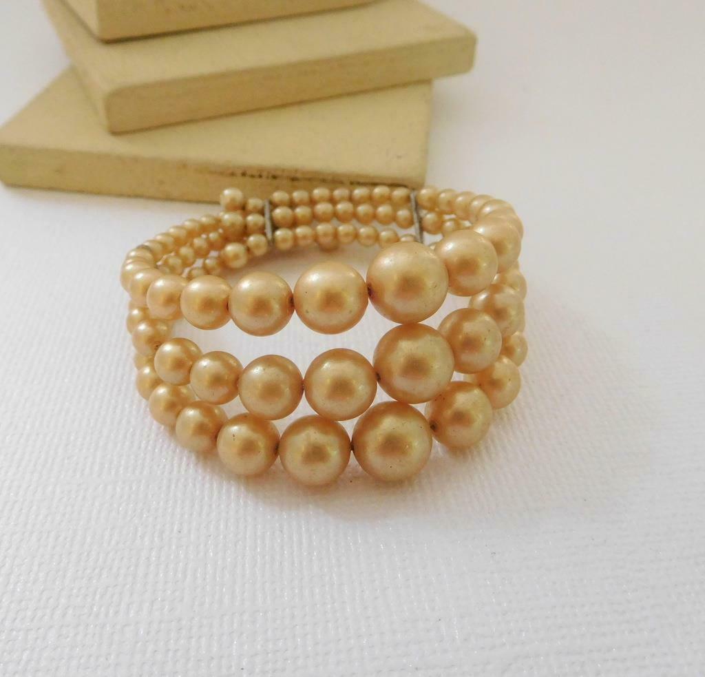 Vintage Antique Cream Faux Pearl Layered Triple Row Wrap Bracelet F16