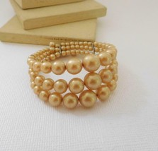 Vintage Antique Cream Faux Pearl Layered Triple Row Wrap Bracelet F16 - $16.14
