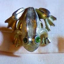 1970's AVON Tiny Frog Tac Lapel Pin Brushed Goldtone Green Rhinestone Eyes - $12.00