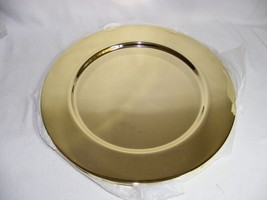"""Set of 4 Gold Colored 12"""" Metal Chargers Mint Condition - $12.60"""