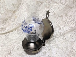 Vintage, Rare,  Beautiful 4-pc Blue Willow-Pewter Oil Lamp/ Reflector 11in x 6in - $94.95