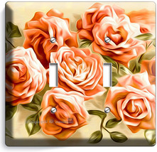 Beautiful Pink Roses Bouquet Double Light Switch Wall Plates Bedroom Home Decor - $10.79