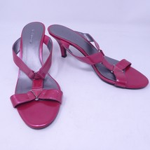 Liz Claiborne 9.5 Shoe Pink Open Toe Slip-ons Kitten Heel Sandal Strappy - $9.62