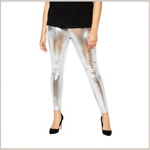 Tight Metallic Silver Stretch Faux Latex Plus Size Elastic Waistband Leggings