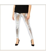 Tight Metallic Silver Stretch Faux Latex Plus Size Elastic Waistband Leg... - $49.95