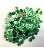 Lot 175 Small Green Buttons 7/16 Inch 4 Hole Shirt Doll Crafts NOS Scrapbook - £7.84 GBP