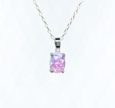 Pink Opal Pendant, 925 sterling silver, dainty jewellery, October births... - $39.90
