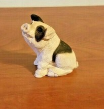 Stone Critters Figurine Black & White Pig Baby  USA Poly-stone & Labled - $12.86