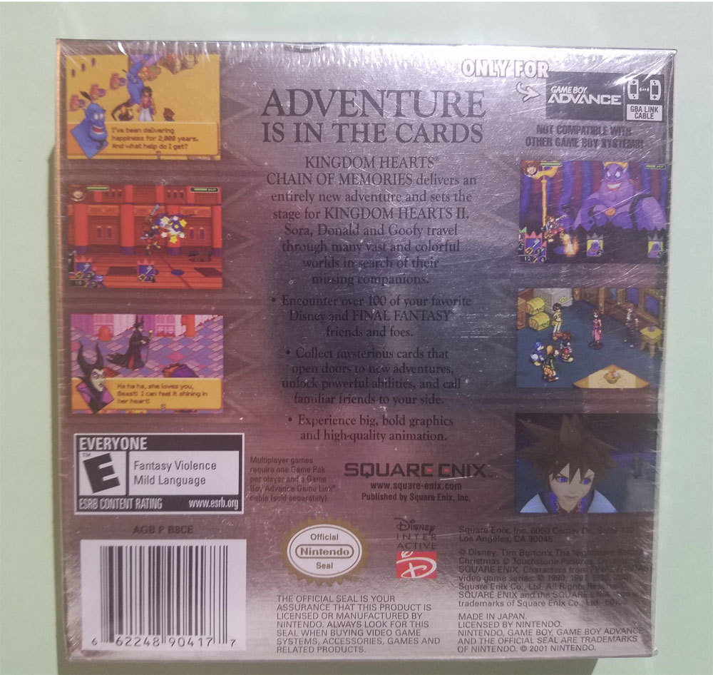 Kingdom Hearts Chain of Memories New Sealed Game Boy Advance Game * Nintendo GBA