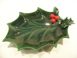 LEFTON'S GREEN HOLLY CHRISTMAS SPOON REST VINTAGE - $17.99