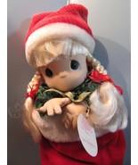 "Precious Moments 1998  christmas eve stocking  Doll  16"" blonde hair/blu... - $31.68"