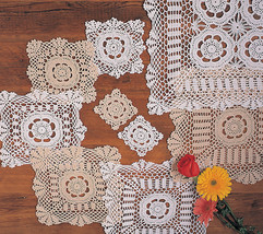 Square Handmade Crochet Lace Floral Vintage Doily, Sold by Piece, 2 Colors - $0.99+
