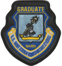 USAF SAMS Graduate Leather Edge Patch- With Hook & Loop - $13.85