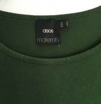 Asos Womens 4 S Maternity Long Sleeve Dress Green Knit Stretch Casual  - $7.84