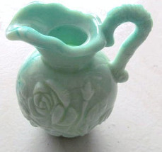 "Unique Avon Jade Color Milk Glass ""Roses"" Designed Collectible Miniature... - $11.99"