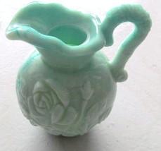 "Unique Avon Jade Color Milk Glass ""Roses"" Designed Collectible Miniature... - $11.99"