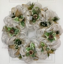 Silver And Gold Holly And Pine Cones Christmas Wreath Handmade Deco Mesh - $92.99
