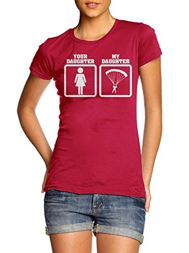 YOUR DAUGHTER MY DAUGHTER SKYDIVING XL Red Girly Tee