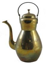 Vintage Art Deco Steampunk Brass Tea Kettle Teapot India  - $49.50