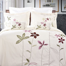 5pc Floral Embroidered Duvet Cover Bedding Set AND Pillows - ALL SIZES -... - $104.49