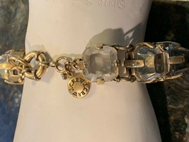 """CREW 7.5"""" STATEMENT CLEAR FACETED GLASS STONE BRACELET BRASS TOGGLE CLO... - $35.96"""
