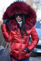 Black Solid Quilted Faux Fur Hooded Long Sleeve Casual Thick Coat image 2