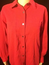 Eddie Bauer Size Small Womans Red Button Up Long Sleeve Bin #70 - $11.29