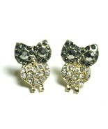 E84 Gold Colored Black Clear Rhinestone Bird Animal Owl Shape Stud Post ... - $7.99
