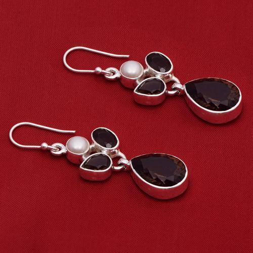 Amazing !! Smoky Quartz,Pearl 925 Sterling Silver Earring Shine Jewelry SHER0789