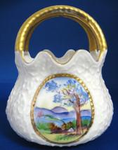 Antique Porcelain Pouch Vase Hand Painted Scene 1890s Victorian Souvenir... - $28.00