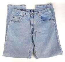 Basic Editions Mens 33x32 Light Wash Regular Fit Straight Leg Blue Jeans... - $15.79
