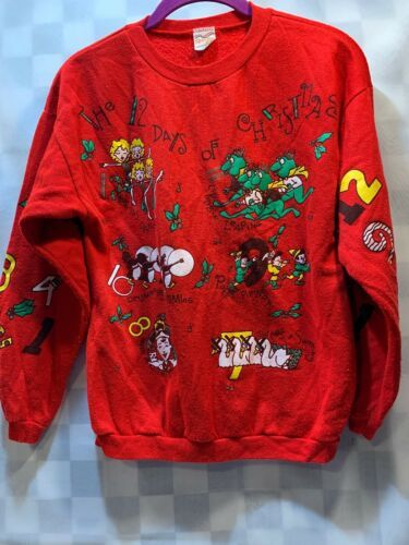 Primary image for Vintage 12 Days of CHRISTMAS Women's Red Sweat Shirt Size L (14)