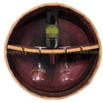 1/4 Wine Barrel Head Wine Bottle & Glass Rack Holds 1 Bottle & 4 Glasses... - $74.25