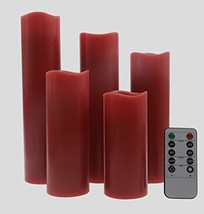 Kitch Aroma Red Flameless Pillar Flickering LED Candles with Remote for Home Dec