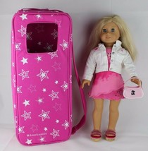 "Pleasant Company doll blond blue eyes American girls with case 18"" Inches doll - $111.22"