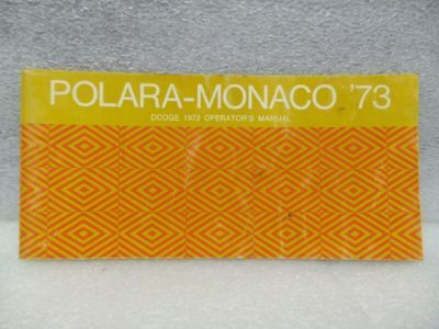 DODGE POLARA MONACO    1973 Owners Manual 16365
