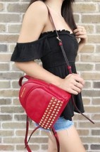 NWT Michael Kors Abbey Mini Backpack Crossbody Stud Red Extra Small Stud... - $139.99