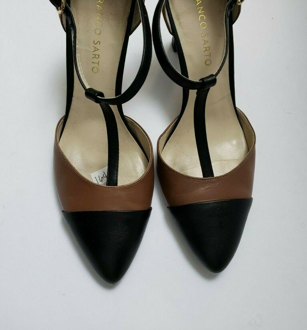Franco Sarto Shoes Heels Brown Black T-Strap Tanda Womens Size 8.5 M image 7