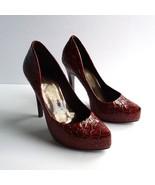 Jessica Simpson Sz. 7 Burnt Orange Snake Print Patent Leather Pumps - $34.06