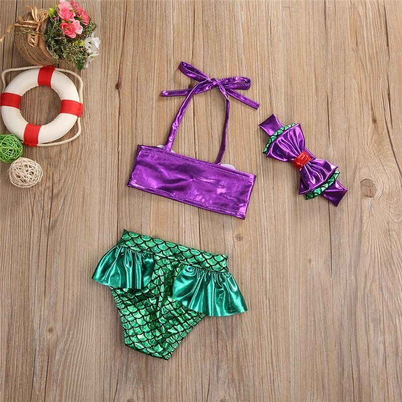Kids Baby Girl Summer Clothes Cute Mermaid Swimwear Sets Sleeveless Bow Halter