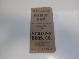 EARLY 1900'S LEDGER- MEN'S AND BOYS CLOTHES,SCHLOSS BROS.CO.,INDIANAPOLIS - $8.91