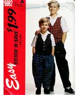 1992 Boys' SHIRT, VEST & PANTS McCall's Pattern 6082-m Sizes 3, 4, 5, & 6 - $5.00