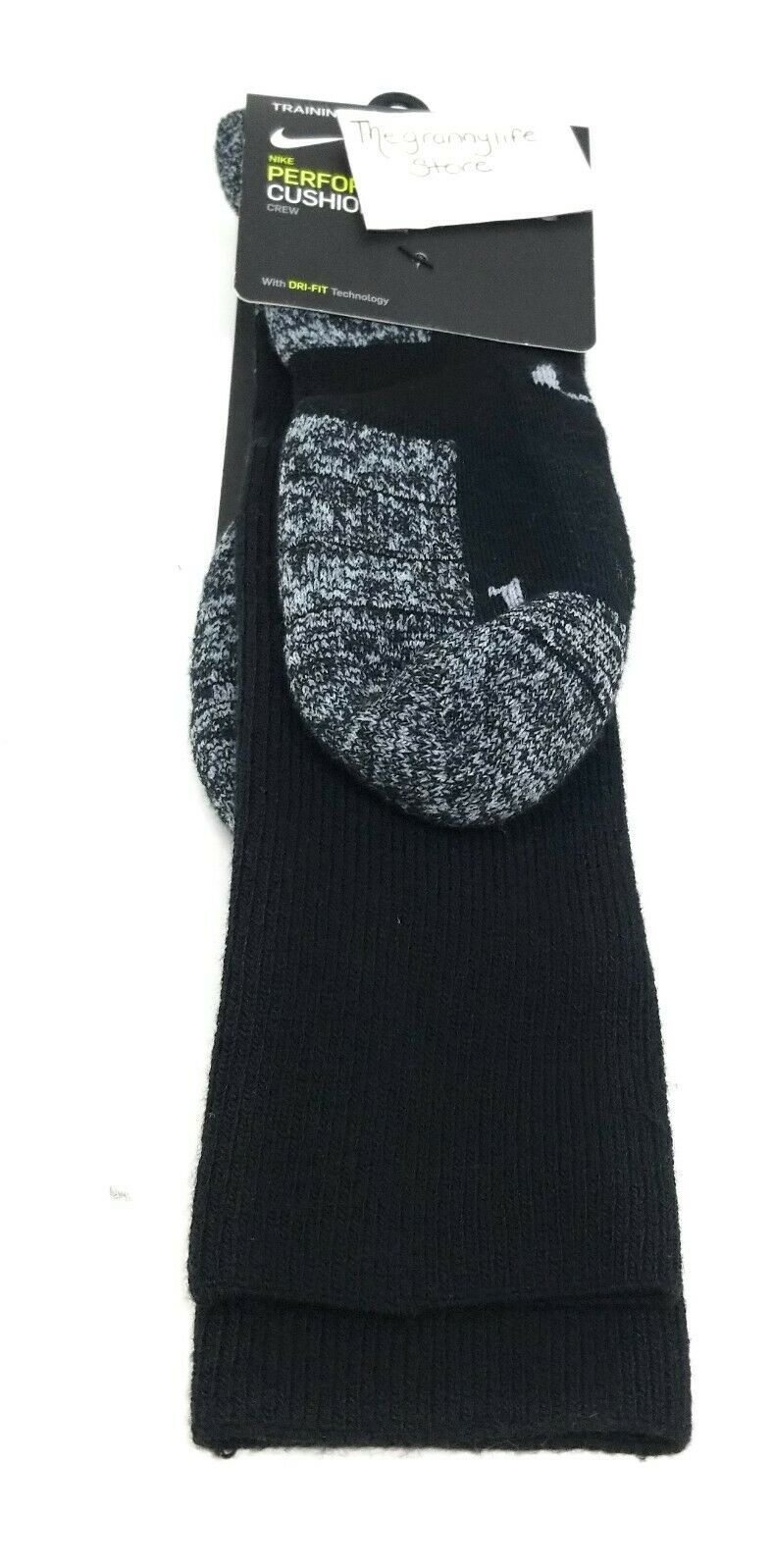 Nike Socks Crew Mens XL 12-15 Black Dri Fit Cushioned Athletic Performance Sport